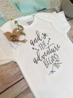 And So The Adventure Begins Onesie®, Baby Shower Gift, Baby Boy Clothes, Cute…