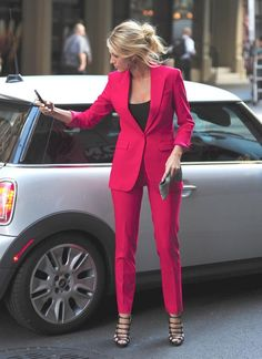 Dare to whip out the fuschia suit? If the answer is yes, we love you. Also, you are fabulous. Simple cuts turn into rockstar material when they meet them bright colors.