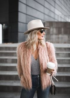 Cute casual outfit with a pink fur coat