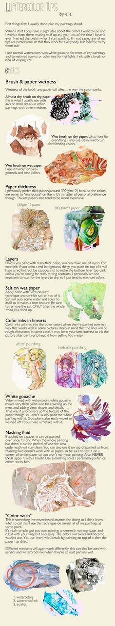 Watercoloring tips by *dodostad on deviantART