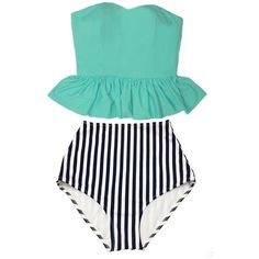 Mint Strapless Long Top and White Navy Blue Stripes Retro Vintage High... ($40) ❤ liked on Polyvore featuring swimwear, bikinis, black, women's clothing, retro bathing suits, vintage high waisted bathing suits, high waisted swimsuit, black bikini and mint swim bathing suits