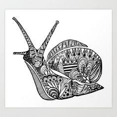 Zentangle Snail Art Print by George Draws - $14.56