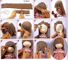 Mimin Dolls: Cabelo de lã tutorial You are in the right place about Doll mon Crochet Doll Clothes, Sewing Dolls, Crochet Dolls, Doll Wigs, Doll Hair, Doll Crafts, Diy Doll, Doll Making Tutorials, Hair Tutorials