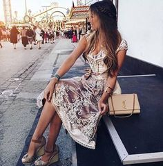 Feeling like a princess in this amazing dirndl it's the most beautiful dirndl I've ever seen Cool Outfits, Fashion Outfits, Womens Fashion, Costume Craze, German Fashion, Scarf Dress, German Girls, Dress Picture, Traditional Dresses