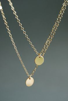 Aniani necklace - double layered 14k gold filled disc necklace, www.kealohajewelry.etsy.com Maui Hawaii