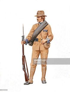 A painting depicting a U.S. Army Infantry Uniform and weapons during The Spanish American War circa 1898.