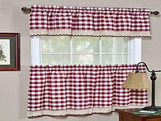 Sweet Home Collection Buffalo Check Gingham Kitchen Window Curtains Valance Set, 24″ Tier, Burgundy White Kitchen Curtains, Kitchen Valances, Black Curtains, Country Curtains, Colorful Curtains, Tier Curtains, Cafe Curtains, Buffalo Check Curtains, Sweet Home Collection