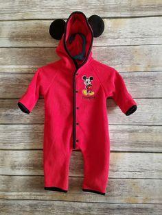 d30b111e80771 Disneyland Resort Infant Baby Fleece Mickey Mouse Sleeper Hood Costume - Sz  3m | Clothing,