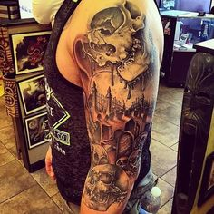 #cemetery tattoo ideas #graveyard tattoos #scary tattoos #skull tattoos #tombstone tattoo ideas #haunted tattoos #haunted graveyard ideas #graveyard tattoo ideas