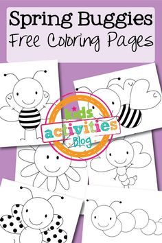 Spring Buggies Coloring Pages - This printable coloring page is a great craft for little kids. The designs are simple and large enough for little hands to color inside of the lines.