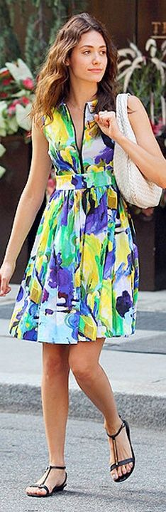 Who made Emmy Rossum's watercolor dress? Dress – Kate Spade