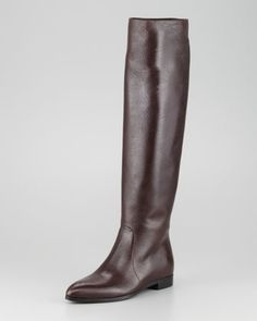 Tall Leather Point-Toe Boot, Dark Brown by Prada at Neiman Marcus. $1300