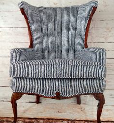 Items similar to Indigo and White Fanback Chair on Etsy Funky Furniture, Furniture Projects, Vintage Furniture, Home Furniture, Furniture Design, Love Chair, Take A Seat, Upholstered Furniture, Cool Chairs