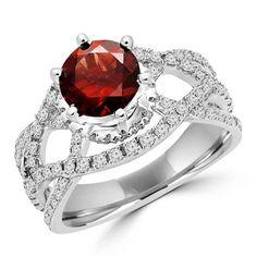 Majesty Diamonds 2 1/4 CTW Round Rhodolite Garnet and Diamond Cocktail Ring in 14K White Gold