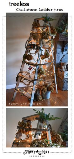 A treeless Christmas ladder tree. It looks even cooler lit at night... visit to see! via Funky Junk Interiors