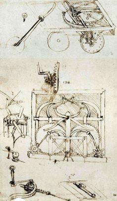 The original drawing of Leonardo's self-propelled cart (page 812 right of Codex Atlanticus)