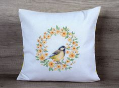 Flowers red cross-stitch embroidery japanese style handmade decorative pillow 14*14 (36*36 cm), $65