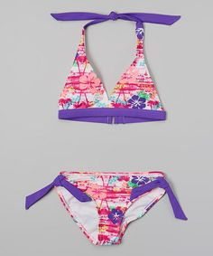 Love this Pink & Purple Retro Beach Bikini - Girls by Happy Kids for Kids on #zulily! #zulilyfinds