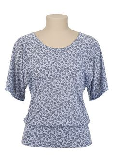 I bought this today at maurices! Vine Print Banded Bottom Top