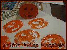Potato Stamp Pumpkins - #Halloween Crafts for Kids and Toddlers (Pinned by Super Simple Songs)