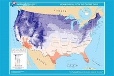 USA mean annual cooling degree days map poster 24X36 scientific meteorologic