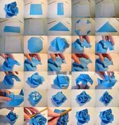 40 origami flowers you can do origami flower and paper folding the most simple folding tutorial roses blue paper flowers a photo tutorial on how to make them mightylinksfo