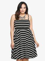 plus size white with black stripes dress - Google Search