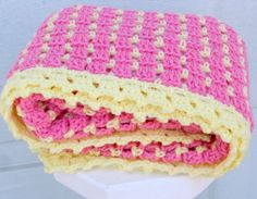 Colors! Pink lemonade crochet baby blanket