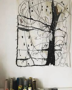 hand #embroidery on linen 2013 / Rieko KOGA atelier / #stitchery