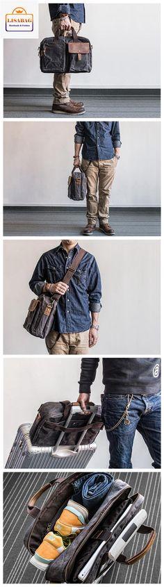 LISABAG--Handmade Waxed Canvas Duffle Bag Travel Bag Luggage Bag Weekender Bag Holdall MBL19