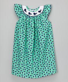 Green Whale Smocked Bishop Dress - Infant, Toddler & Girls