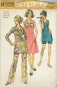 "An unused original ca. 1971 Simplicity Pattern 9328.  Women's Pants in Two Lengths, Dress or Tunic: The dress V. 1 or tunic V. 2 & 3 with back zipper has ""V"" shaped neckline. V. 1 & 2 have collar. Sleeveless V. 1 & 3 have patch pockets. V. 1 has ribbon bow. B. 2 & 3 have slits in side seams. V. 2 has long set-in sleeves. Collarless V. 3 with woven braid trim has purchased appliqué. Long pants V. 2 and short pants V. 3 have elastic waistline casing."