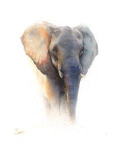 ELEPHANT ART PRINT - elephant print, watercolor elephant painting, elephant…