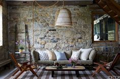 Rustic Gray Living Room - ELLEDecor.com