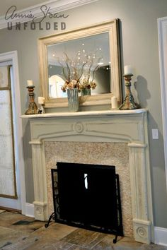 This mirror was my first Chalk Paint™ decorative paint project and I still love it! Mantel is of New Orleans reclaimed cypress, painted in Old White.