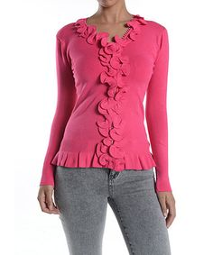 Another great find on #zulily! Pink Ruffle V-Neck Cardigan #zulilyfinds