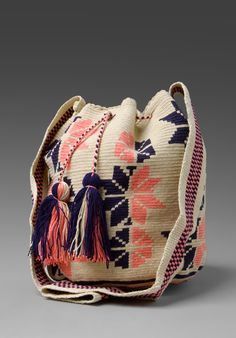 WAYUU TAYA Bucket Bag in Beige/Navy/Pink at Revolve Clothing - Free Shipping!