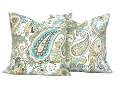 2 Paisley pillow covers, cushion, decorative throw pillow, Blue pillow, accent pillow, outdoor pillow, pillow case by ThatDutchGirlHome on Etsy