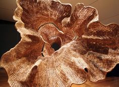 """john grade: """"middle fork"""" sculptural tree skin made from casts of actual tree; recomposed with tiny cedar blocks."""