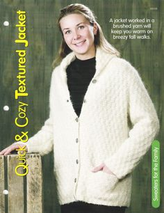 Quick and Cozy Textured Sweater Jacket Knit Pattern - House of White Birches 127172