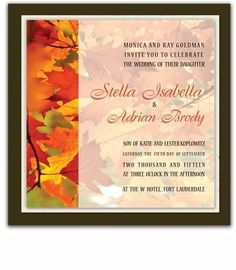 260 Square Wedding Invitations - Autumn Splendor by WeddingPaperMasters.com. $650.00. Now you can have it all! We have created, at incredible prices & outstanding quality, more than 300 gorgeous collections consisting of over 6000 beautiful pieces that are perfectly coordinated together to capture your vision without compromise. No more mixing and matching or having to compromise your look. We can provide you with one piece or an entire collection in a one stop sho...