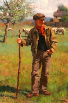 Gregory Frank Harris - A Young Shepherd Farmer Painting, Jardin Des Tuileries, Grand Art, Cicely Mary Barker, Irish Art, Soul Art, Art Themes, Portrait Art, Beautiful Paintings