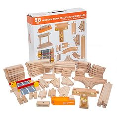 Wooden Train Track 52 Piece Pack - 100% Compatible with All Major Brands including Thomas Wooden Railway System - By Right Track Toys