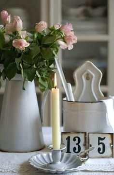 Enamelware...finding its way into homes of all styles. Be sure to visit http://www.crowcayonhome.com for more!!