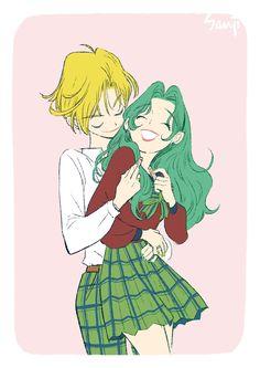 .haruka and michiru #sailormoon #yuri #anime