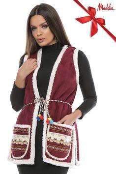 Vesta lunga din cojoc | Madelia Fashion - Magazin online haine și rochii de damă Drawstring Backpack, Vest, Backpacks, Jackets, Bags, Collection, Fashion, Down Jackets, Handbags