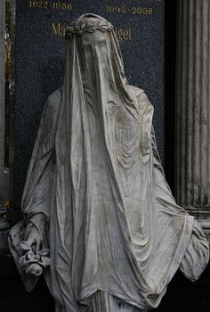 "Statue of a mourner in the Vienna Central Cemetery. This statue is an example of superb stone sculpture, manifestly evident in the fact that one can see the mourner's face ""through"" her stone veil. Cemetery Angels, Cemetery Statues, Cemetery Art, Angel Statues, Greek Statues, Buddha Statues, Ancient Greek Sculpture, Old Cemeteries, Graveyards"