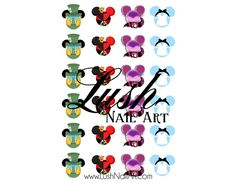 Alice & Friends Mickey Mouse Ears Alice in Wonderland Disney Nail Art Water Transfer Decal - Waterslide Paper - Water Slide Paper