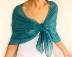 Emeral Green Chiffon Shawl, Evening Stole Wrap, Solid Green Formal Shoulder Scarf, Costume Dress Cover up, Women Fashion Accessory