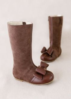 Girls Couture Suede Brown Bow Boot at Cassie's Closet